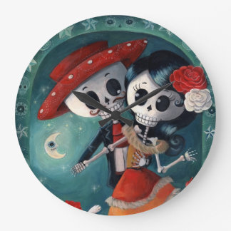 The Day of The Dead Skeleton Lovers Wallclock