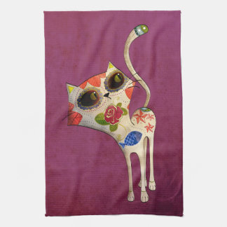 The Day of The Dead White Cute Cat Tea Towel