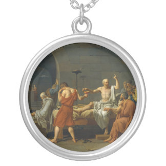 The Death of Socrates by Jacques-Louis David 1787 Round Pendant Necklace
