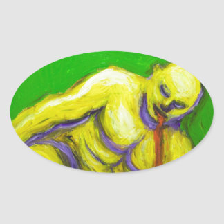 The Death of Socrates (expressionism portrait) Oval Sticker