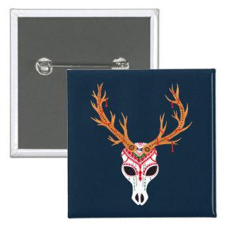 The Deer Head Skull 15 Cm Square Badge