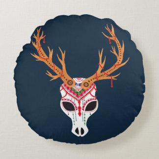 The Deer Head Skull Round Cushion