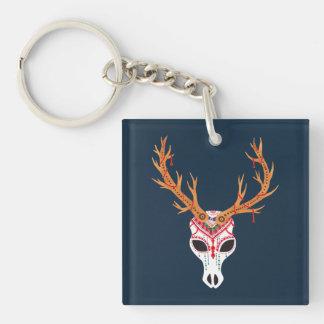 The Deer Head Skull Single-Sided Square Acrylic Key Ring