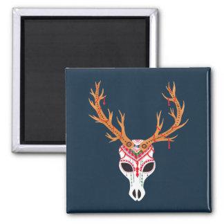 The Deer Head Skull Square Magnet