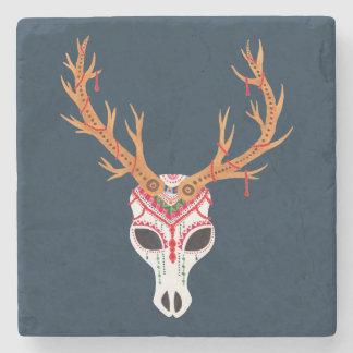 The Deer Head Skull Stone Beverage Coaster