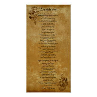 The Desiderata  parchment look background scroll