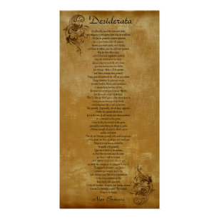 The Desiderata  parchment look background scroll Poster