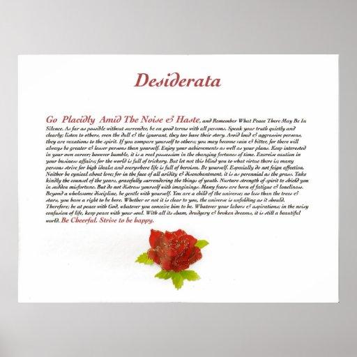 The Desiderata Poem by Max Ehrmann Print
