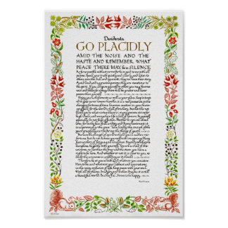 The Desiderata Poem by Max Ehrmann Wildflowers Poster