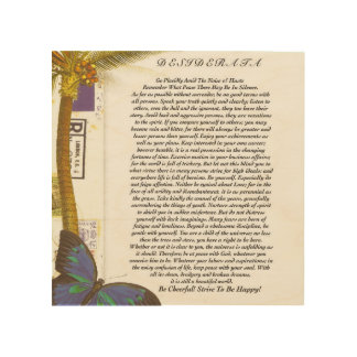 The Desiderata Poem with Palm Tree and Butterfly Wood Print
