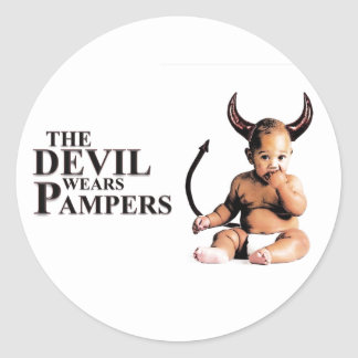 The Devil Wears Pampers Classic Round Sticker