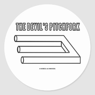 The Devil's Pitchfork (Optical Illusion) Classic Round Sticker