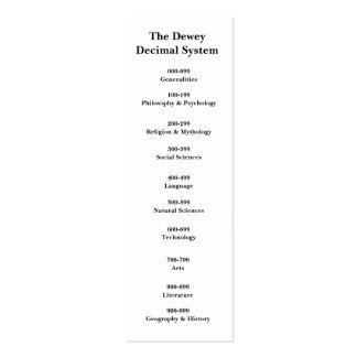 The Dewey Decimal System Bookmark Pack Of Skinny Business Cards