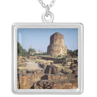 The Dhamekh stupa, c.500 AD Square Pendant Necklace