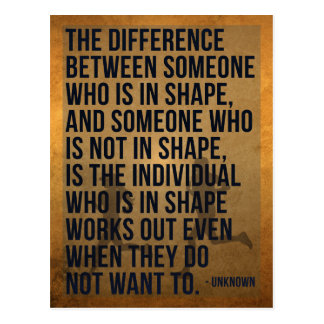 'The difference...' Fitness/Exercise Quote Postcard