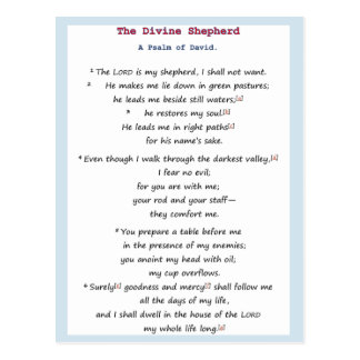The Divine Shepherd - A Psalm of David Postcard
