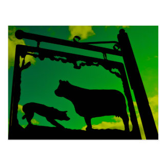 The dog and the cow. postcard