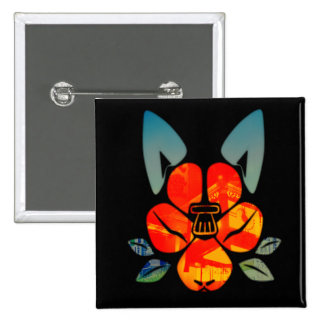 The Dog camellia crest 15 Cm Square Badge