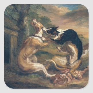 The Dog Fight, 1678 Square Sticker