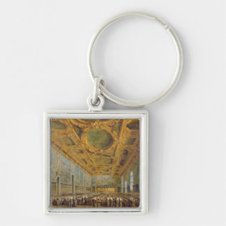 The Doge of Venice Thanking the Council Silver-Colored Square Key Ring