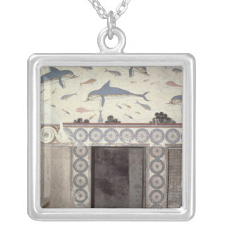 The Dolphin Frescoes in the Queen's Bathroom Silver Plated Necklace