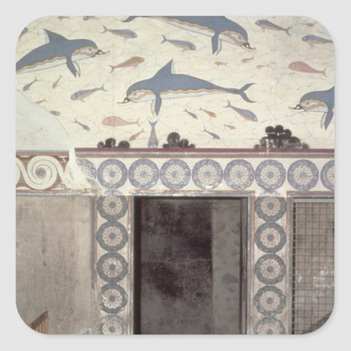 The Dolphin Frescoes in the Queen's Bathroom Square Sticker