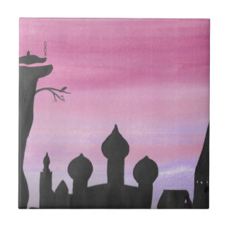 The Dragon At Dawn Small Square Tile