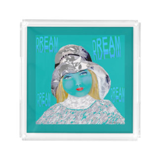 The Dreamer Perfume Tray-Teal/White/Gray Acrylic Tray