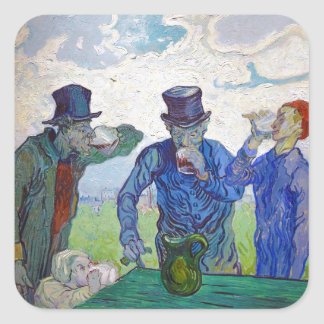 The Drinkers by Vincent van Gogh (1890) Square Sticker