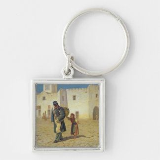 The Drum Beater, 1867 Silver-Colored Square Key Ring