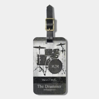 the drummer of the band travel luggage tag