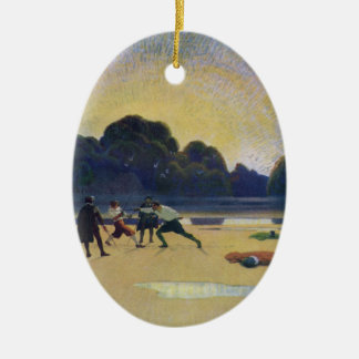 The Duel on the Beach Ceramic Ornament