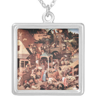 The Dutch proverbs by Pieter Bruegel Silver Plated Necklace