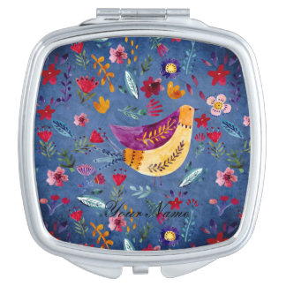 The Early Bird in Flower Garden Compact Mirrors