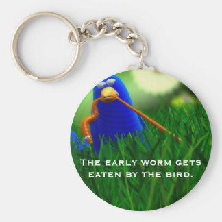 The early worm gets eaten by the bird. basic round button key ring
