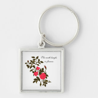 The earth laughs in flowers, with Vintage Roses Key Ring
