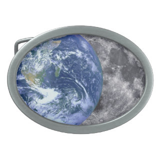 The Earth & The Moon Oval Belt Buckles