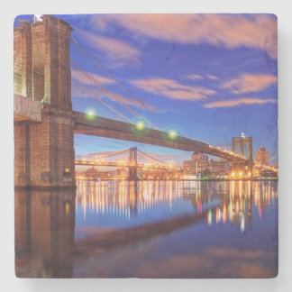 The East River, Brooklyn Bridge, Manhattan Stone Coaster