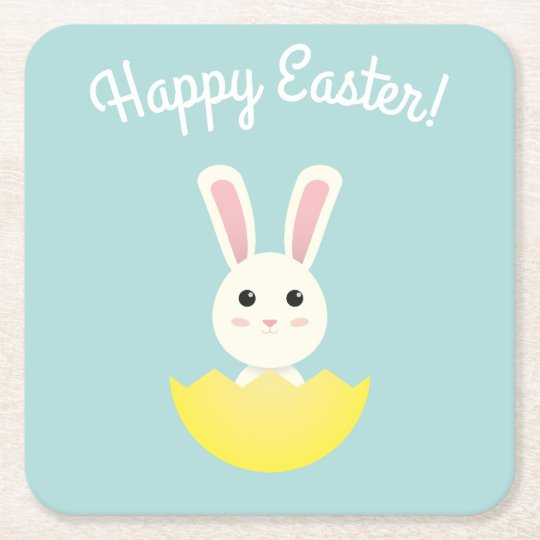 The Easter Bunny I Square Paper Coaster