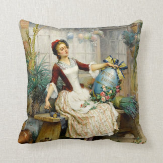 The Easter Eggs, fine art vintage painting Throw Pillow