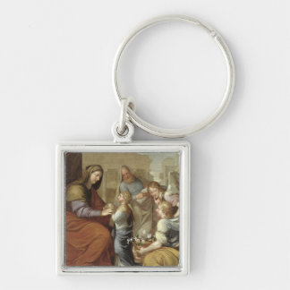 The Education of the Virgin, 1658 Silver-Colored Square Key Ring