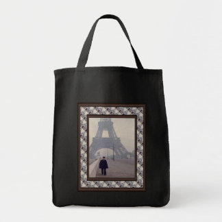 The eiffel tower and a Gendarme Grocery Tote Bag