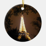 The Eiffel Tower at Night Christmas Tree Ornaments