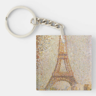 The Eiffel Tower by Georges Seurat Double-Sided Square Acrylic Key Ring