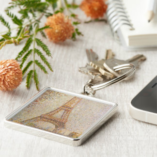 The Eiffel Tower by Georges Seurat Silver-Colored Square Key Ring