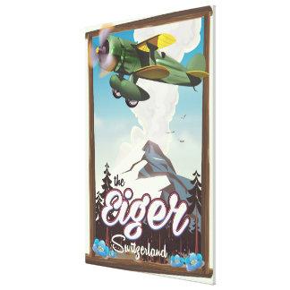 The Eiger Mountain,Switzerland travel poster Canvas Print