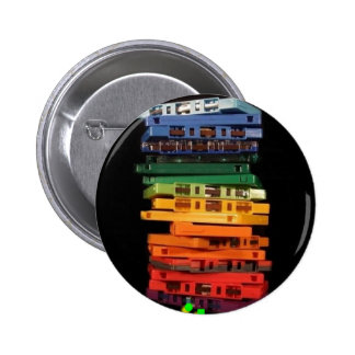 The eighties rainbow colored casette tapes 6 cm round badge