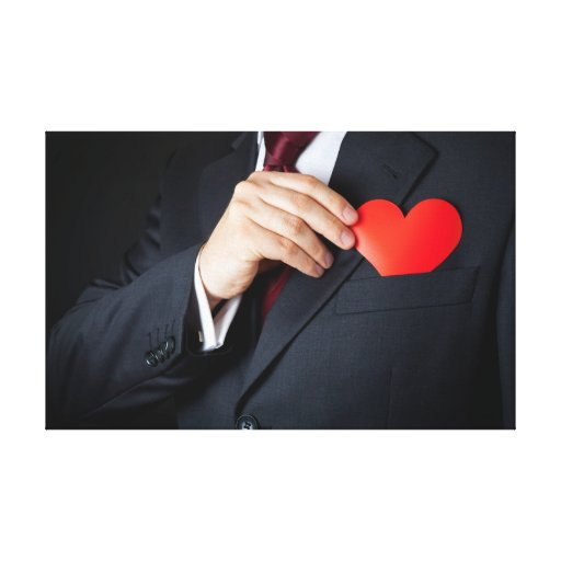 The Elegant Man Hiding A Red Heart Into Pocket Stretched Canvas Print