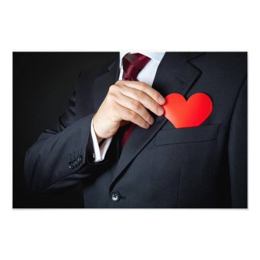 The Elegant Man Hiding A Red Heart Into Pocket Photo