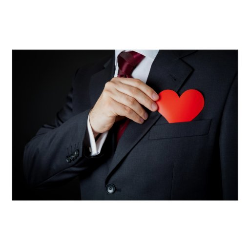 The Elegant Man Hiding A Red Heart Into Pocket Poster